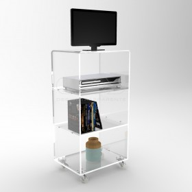 Acrylic clear rolling TV stand 55x50 with wheels, lucite shelves