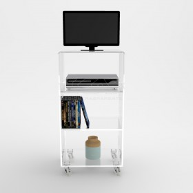 Acrylic clear rolling TV stand 60x40 with wheels, lucite shelves