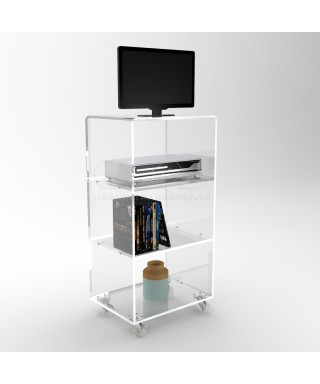 Acrylic clear rolling TV stand 65x30 with wheels, lucite shelves