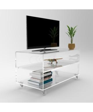Carrello TV 70x40 mobile per plasma con ruote, ripiani in plexiglass