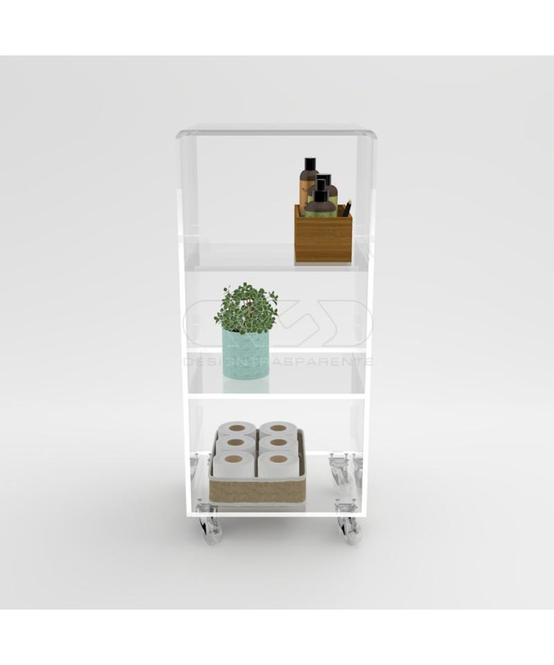 Mobiletto salvaspazio 30x30 carrello servitore in plexiglass