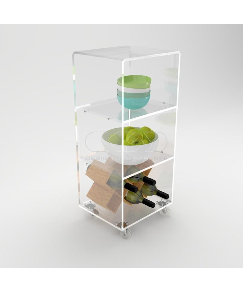 Mobiletto Salvaspazio 40x30 Carrello Servitore In Plexiglass