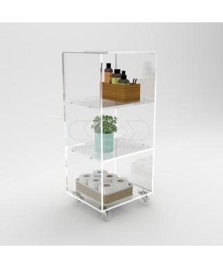 Mobiletto salvaspazio 50x50 carrello servitore in plexiglass