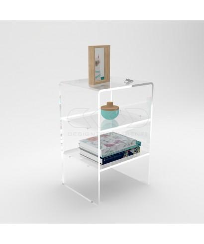 Tavolino-Comodino cm 30 H60 in plexiglass trasparente con due ripiani