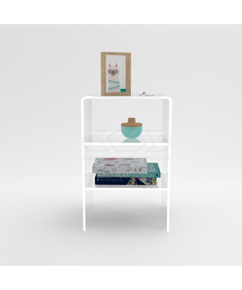 Tavolino-Comodino cm L40 H60 in plexiglass trasparente con ripiani