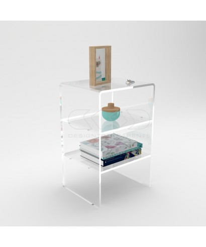 L50 W60 Acrylic transparent nightstand or side table with shelf