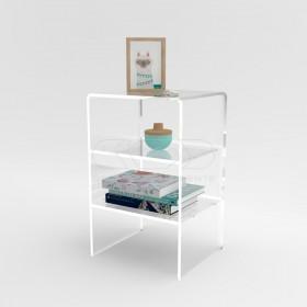 Tavolino-Comodino cm L50 H60 in plexiglass trasparente con ripiani