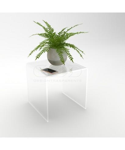 Mesa auxiliar cm 40x30 mesita baja de centro metacrilato transparente