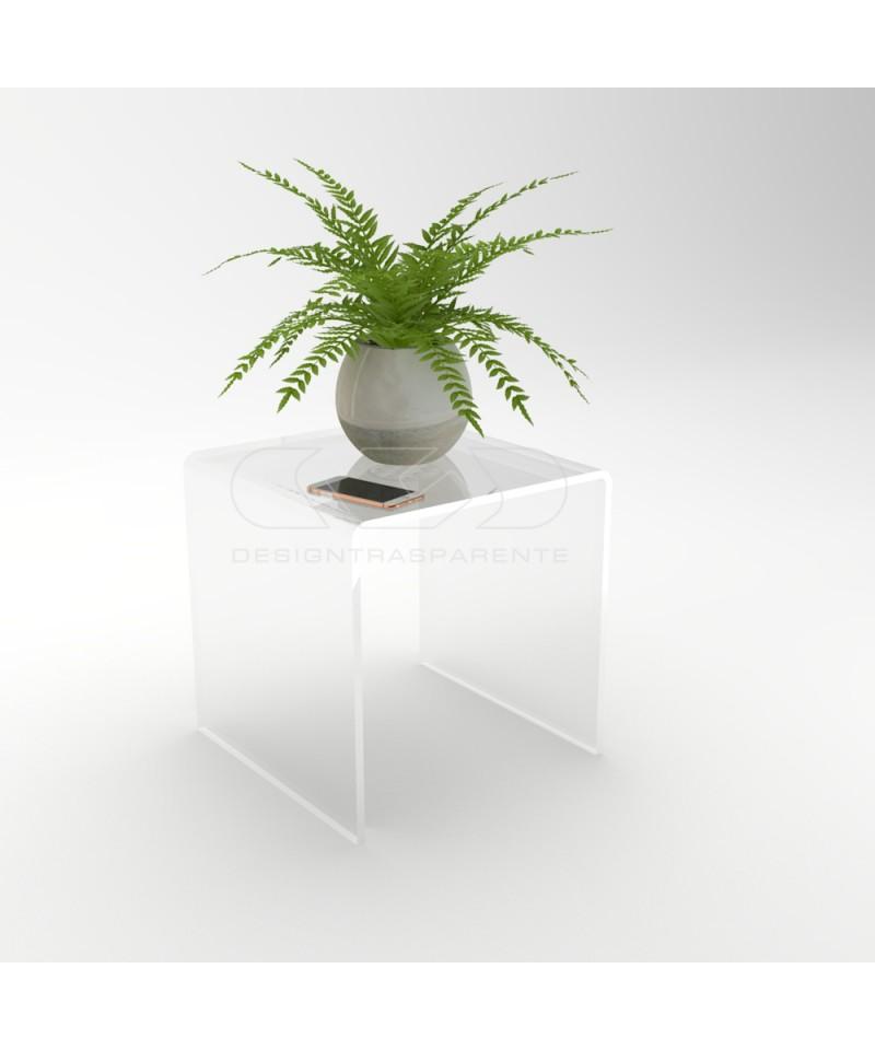Mesa auxiliar cm 40x40 mesita baja de centro metacrilato transparente