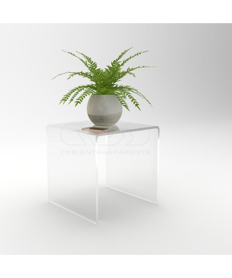 Mesa auxiliar cm 50x30 mesita baja de centro metacrilato transparente