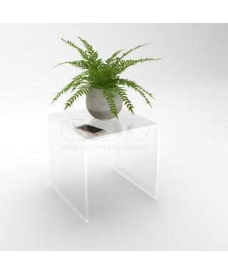 Mesa auxiliar cm 50x40 mesita baja de centro metacrilato transparente