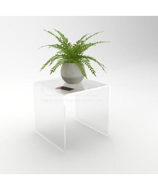 Mesa auxiliar cm 50x50 mesita baja de centro metacrilato transparente
