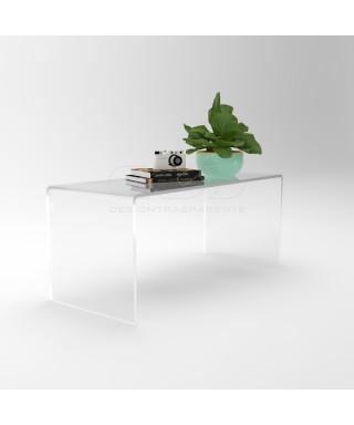 Tavolino a ponte 60x20 da salotto in plexiglass trasparente H variabile