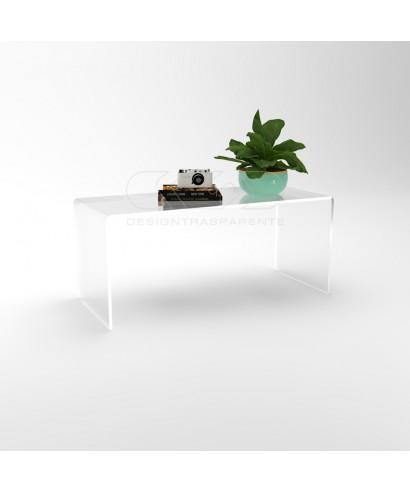 Tavolino a ponte 70x50 tavolo da salotto in plexiglass trasparente