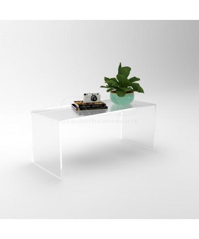 Tavolino a ponte 75x50 tavolo da salotto in plexiglass trasparente