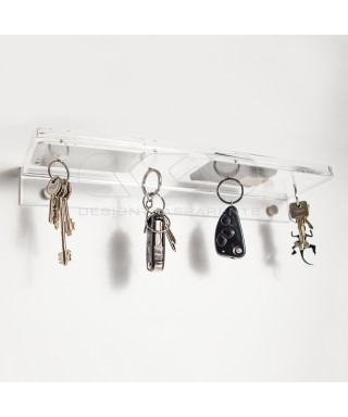 Acrylic shelf 15x10 with coin tray and magnetic key holder