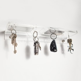 Acrylic shelf 40x10 with coin tray and magnetic key holder