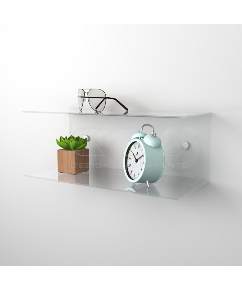 Acrylic 20x15 wall-mounted night table and bedside shelf