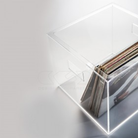 Transparent acrylic LP storage box for vinyl records