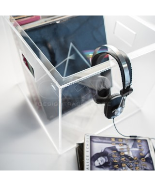 Transparent acrylic LP storage box for vinyl records