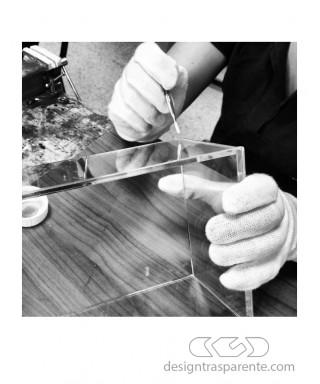 45x45h80 Kit lastre in plexiglass su misura e colla per teca fai da te