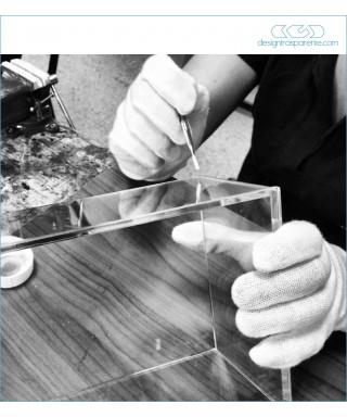 60x40h70 - Lastre in plexiglass trasparente su misura, colla per plexiglass, teca fai da te