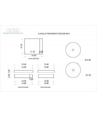 Dischi e scatole su misura come da disegno in plexiglass trasparente