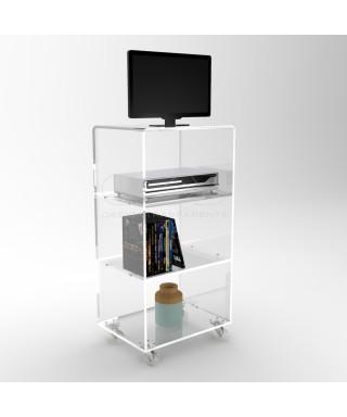 Carrello TV 80x30 mobile per plasma con ruote, ripiani in plexiglass