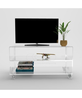 Acrylic clear rolling TV stand 90x30 with wheels, lucite shelves
