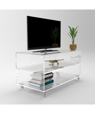Acrylic clear rolling TV stand 90x40 with wheels, lucite shelves