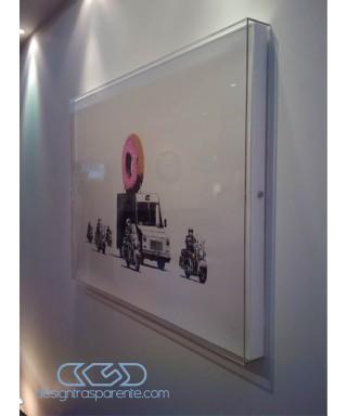 Cornice a giorno cm 45x40 box protezione in plexiglass teca per quadri