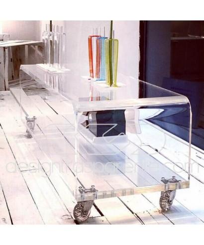 Carrello SU MISURA 90x35H30 porta TV in plexiglass trasparente
