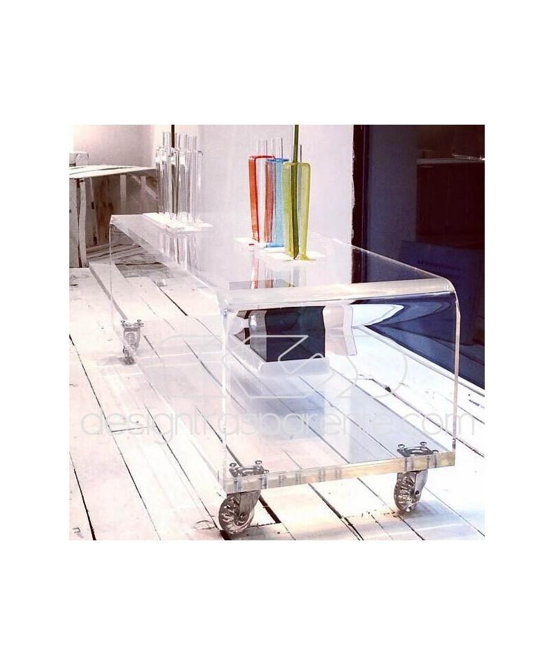 Carrello SU MISURA 90x35H40 porta TV in plexiglass trasparente