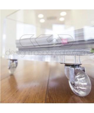 Carrello SU MISURA 100x45H40 porta TV in plexiglass trasparente