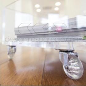 Carrello SU MISURA 80x35H40 porta TV in plexiglass trasparente