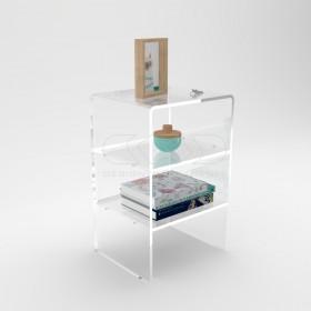 Tavolino-Comodino cm L40 H55 in plexiglass trasparente con ripiani