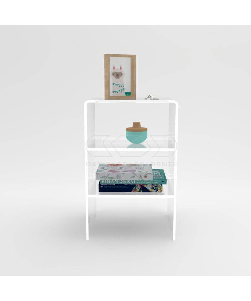 L40 W55 Acrylic transparent nightstand or side table with shelf