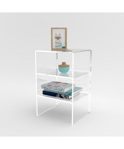 Tavolino-Comodino cm L50 H55 in plexiglass trasparente con ripiani