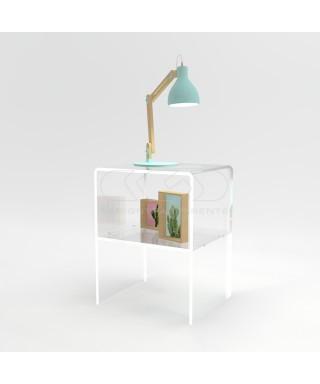 Comodino-Tavolino cm L30 H50 in plexiglass trasparente con un ripiano