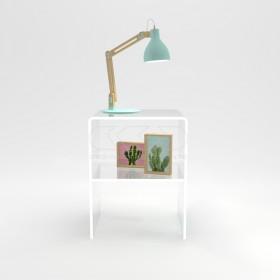 Comodino-Tavolino cm L50 H50 in plexiglass trasparente con un ripiano
