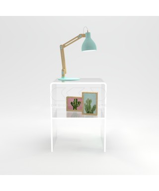 Comodino-Tavolino cm L40 H45 in plexiglass trasparente con un ripiano