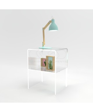 W40 H45 Acrylic transparent nightstand or side table with shelf