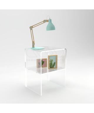 Comodino-Tavolino cm L50 H45 in plexiglass trasparente con un ripiano