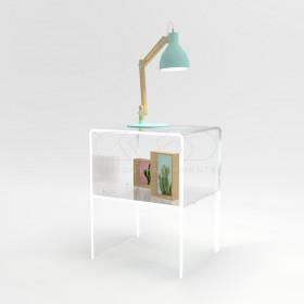 Comodino-Tavolino cm L40 H40 in plexiglass trasparente con un ripiano