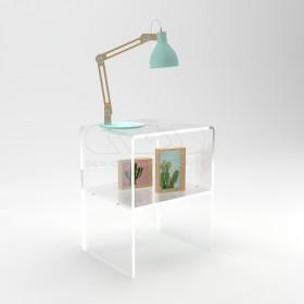 Comodino-Tavolino cm L50 H40 in plexiglass trasparente con un ripiano