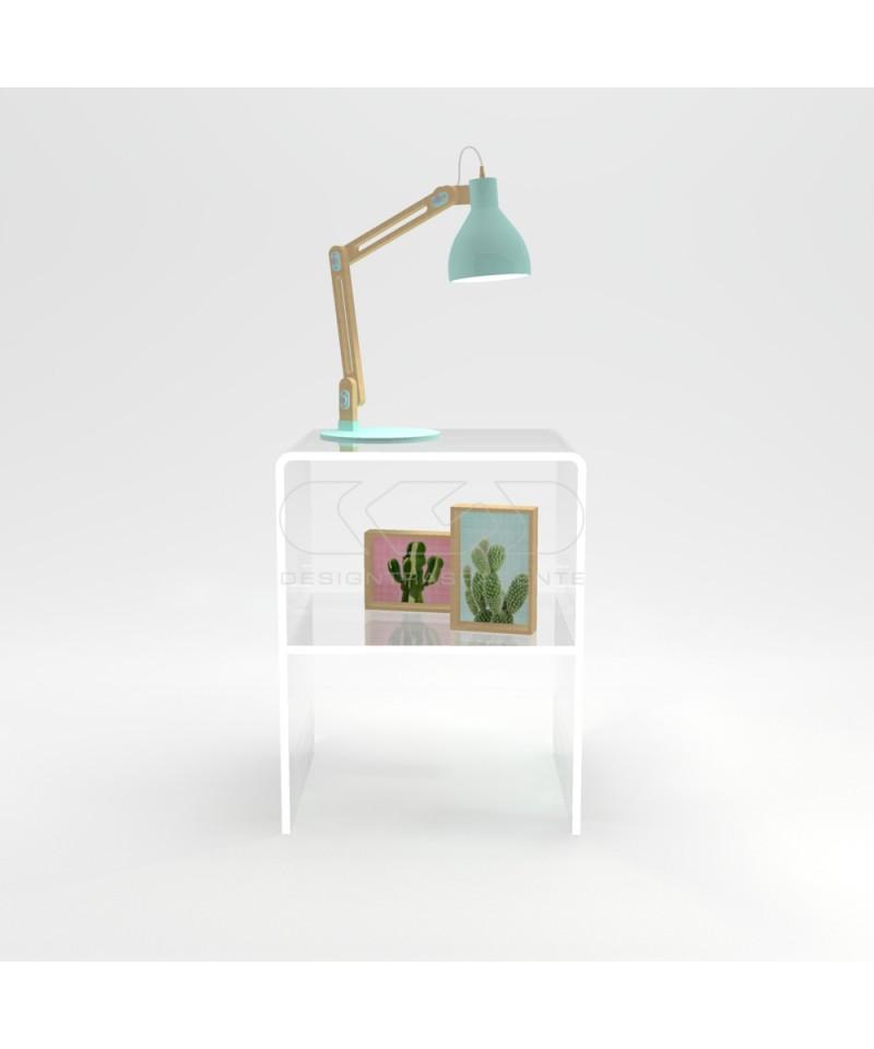 Comodino-Tavolino cm L20 H40 in plexiglass trasparente con un ripiano