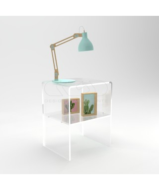 W20 H45 Acrylic transparent nightstand or side table with shelf