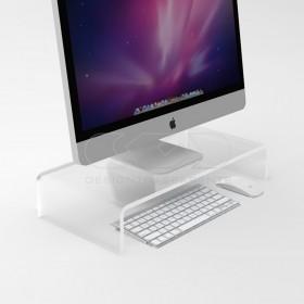 Supporto cm 60x20 alzata rialzo monitor in plexiglass trasparente