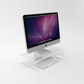 Supporto cm 60x50 alzata rialzo monitor in plexiglass trasparente