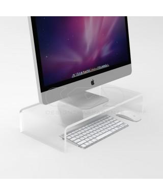 Supporto cm 55x20 alzata rialzo monitor in plexiglass trasparente